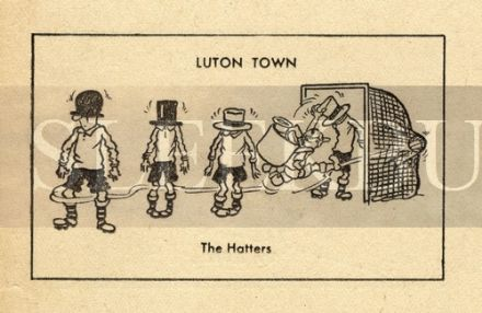 VINTAGE Football Print LUTON TOWN - THE HATTERS Funny Cartoon